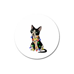 Meowy Christmas Magnet 3  (round) by Valentinaart