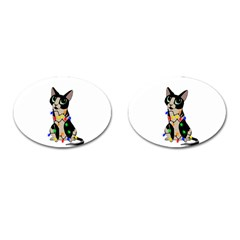 Meowy Christmas Cufflinks (oval) by Valentinaart