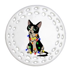 Meowy Christmas Ornament (round Filigree) by Valentinaart