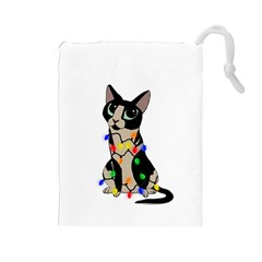 Meowy Christmas Drawstring Pouches (large)  by Valentinaart