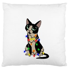 Meowy Christmas Large Flano Cushion Case (one Side) by Valentinaart