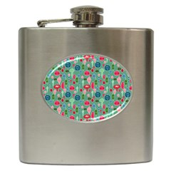 Vintage Christmas Hand Painted Ornaments In Multi Colors On Teal Hip Flask (6 Oz) by PodArtist