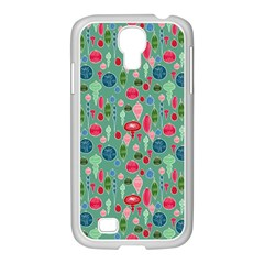Vintage Christmas Hand Painted Ornaments In Multi Colors On Teal Samsung Galaxy S4 I9500/ I9505 Case (white) by PodArtist