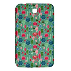 Vintage Christmas Hand Painted Ornaments In Multi Colors On Teal Samsung Galaxy Tab 3 (7 ) P3200 Hardshell Case  by PodArtist