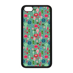 Vintage Christmas Hand Painted Ornaments In Multi Colors On Teal Apple Iphone 5c Seamless Case (black) by PodArtist