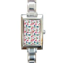 Vintage Christmas Hand Painted Ornaments In Multi Colors On White Rectangle Italian Charm Watch by PodArtist