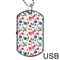Vintage Christmas Hand Painted Ornaments In Multi Colors On White Dog Tag Usb Flash (two Sides) by PodArtist