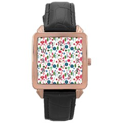 Vintage Christmas Hand Painted Ornaments In Multi Colors On White Rose Gold Leather Watch  by PodArtist
