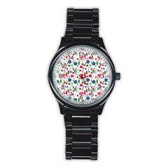 Vintage Christmas Hand Painted Ornaments In Multi Colors On White Stainless Steel Round Watch by PodArtist