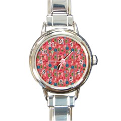 Vintage Christmas Hand Painted Ornaments In Multi Colors On Rose Round Italian Charm Watch by PodArtist