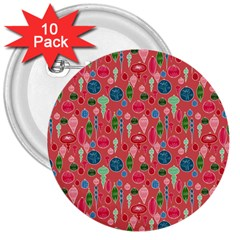 Vintage Christmas Hand Painted Ornaments In Multi Colors On Rose 3  Buttons (10 Pack)  by PodArtist