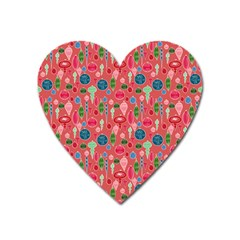 Vintage Christmas Hand Painted Ornaments In Multi Colors On Rose Heart Magnet by PodArtist