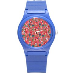 Vintage Christmas Hand Painted Ornaments In Multi Colors On Rose Round Plastic Sport Watch (s) by PodArtist
