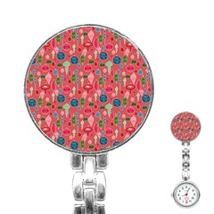 Vintage Christmas Hand Painted Ornaments In Multi Colors On Rose Stainless Steel Nurses Watch by PodArtist
