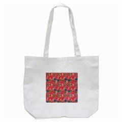 Vintage Christmas Hand Painted Ornaments In Multi Colors On Rose Tote Bag (white) by PodArtist