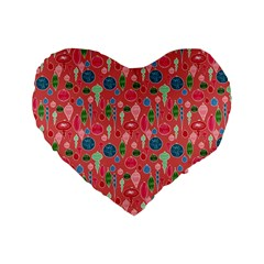 Vintage Christmas Hand Painted Ornaments In Multi Colors On Rose Standard 16  Premium Flano Heart Shape Cushions by PodArtist