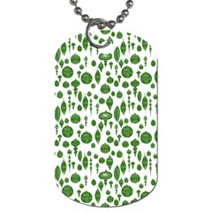 Vintage Christmas Ornaments In Green On White Dog Tag (one Side) by PodArtist