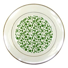 Vintage Christmas Ornaments In Green On White Porcelain Plates by PodArtist