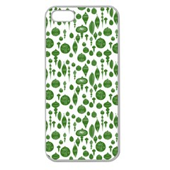 Vintage Christmas Ornaments In Green On White Apple Seamless Iphone 5 Case (clear) by PodArtist