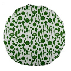 Vintage Christmas Ornaments In Green On White Large 18  Premium Round Cushions by PodArtist