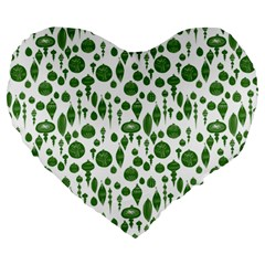 Vintage Christmas Ornaments In Green On White Large 19  Premium Heart Shape Cushions by PodArtist