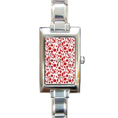 Vintage Christmas Ornaments In Red On White Rectangle Italian Charm Watch