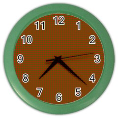Classic Christmas Red And Green Houndstooth Check Pattern Color Wall Clocks by PodArtist