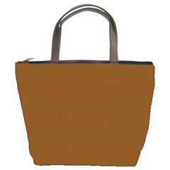 Classic Christmas Red And Green Houndstooth Check Pattern Bucket Bags by PodArtist