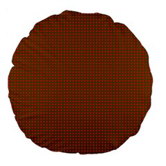 Classic Christmas Red And Green Houndstooth Check Pattern Large 18  Premium Flano Round Cushions by PodArtist