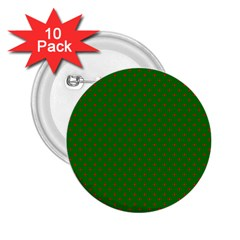 Mini Red Dots On Christmas Green 2 25  Buttons (10 Pack)  by PodArtist