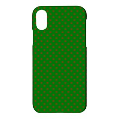 Mini Red Dots On Christmas Green Apple Iphone X Hardshell Case