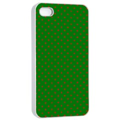 Mini Red Dots On Christmas Green Apple Iphone 4/4s Seamless Case (white) by PodArtist