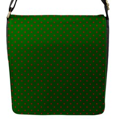 Mini Red Dots On Christmas Green Flap Messenger Bag (s) by PodArtist