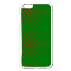 Mini Red Dots On Christmas Green Apple Iphone 6 Plus/6s Plus Enamel White Case by PodArtist