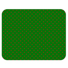 Mini Red Dots On Christmas Green Double Sided Flano Blanket (medium)  by PodArtist