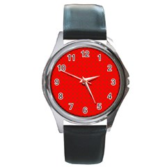 Small Christmas Green Polka Dots On Red Round Metal Watch