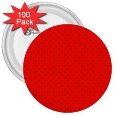 Small Christmas Green Polka Dots On Red 3  Buttons (100 Pack)  by PodArtist