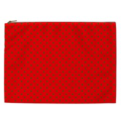 Small Christmas Green Polka Dots On Red Cosmetic Bag (xxl)  by PodArtist