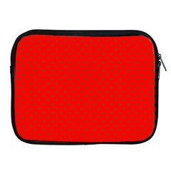 Small Christmas Green Polka Dots On Red Apple Ipad 2/3/4 Zipper Cases by PodArtist