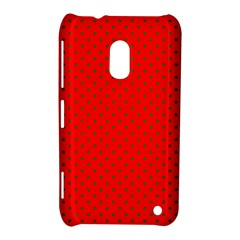 Small Christmas Green Polka Dots On Red Nokia Lumia 620 by PodArtist