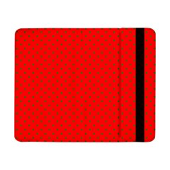 Small Christmas Green Polka Dots On Red Samsung Galaxy Tab Pro 8 4  Flip Case by PodArtist