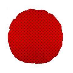 Small Christmas Green Polka Dots On Red Standard 15  Premium Flano Round Cushions by PodArtist