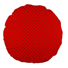 Small Christmas Green Polka Dots On Red Large 18  Premium Flano Round Cushions by PodArtist