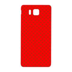 Small Christmas Green Polka Dots On Red Samsung Galaxy Alpha Hardshell Back Case by PodArtist