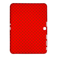 Small Christmas Green Polka Dots On Red Samsung Galaxy Tab 4 (10 1 ) Hardshell Case  by PodArtist