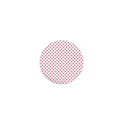 Small Christmas Red Polka Dot Hearts On Snow White 1  Mini Buttons by PodArtist