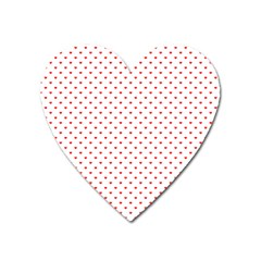 Small Christmas Red Polka Dot Hearts On Snow White Heart Magnet by PodArtist
