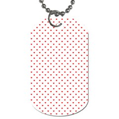 Small Christmas Red Polka Dot Hearts On Snow White Dog Tag (one Side) by PodArtist