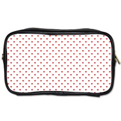 Small Christmas Red Polka Dot Hearts On Snow White Toiletries Bags 2 Side by PodArtist