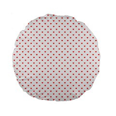 Small Christmas Red Polka Dot Hearts On Snow White Standard 15  Premium Round Cushions by PodArtist